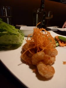 Close-up Lettuce Wraps with Shrimp