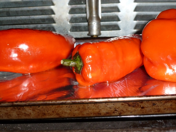 Red Peppers under broiler