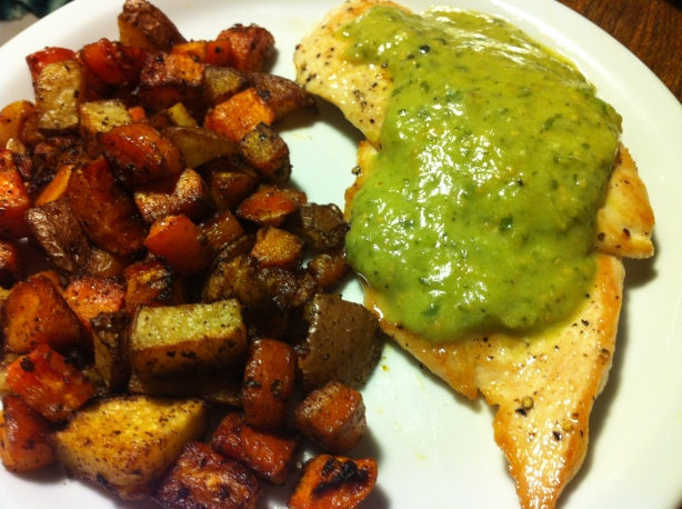 tomatillo sauce with chicken & roasted vegetables