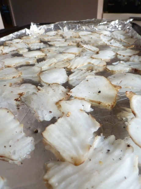 Jerusalem Artichokes (Sunchokes) on baking sheet