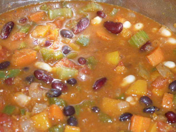 Butternut squash three bean chili
