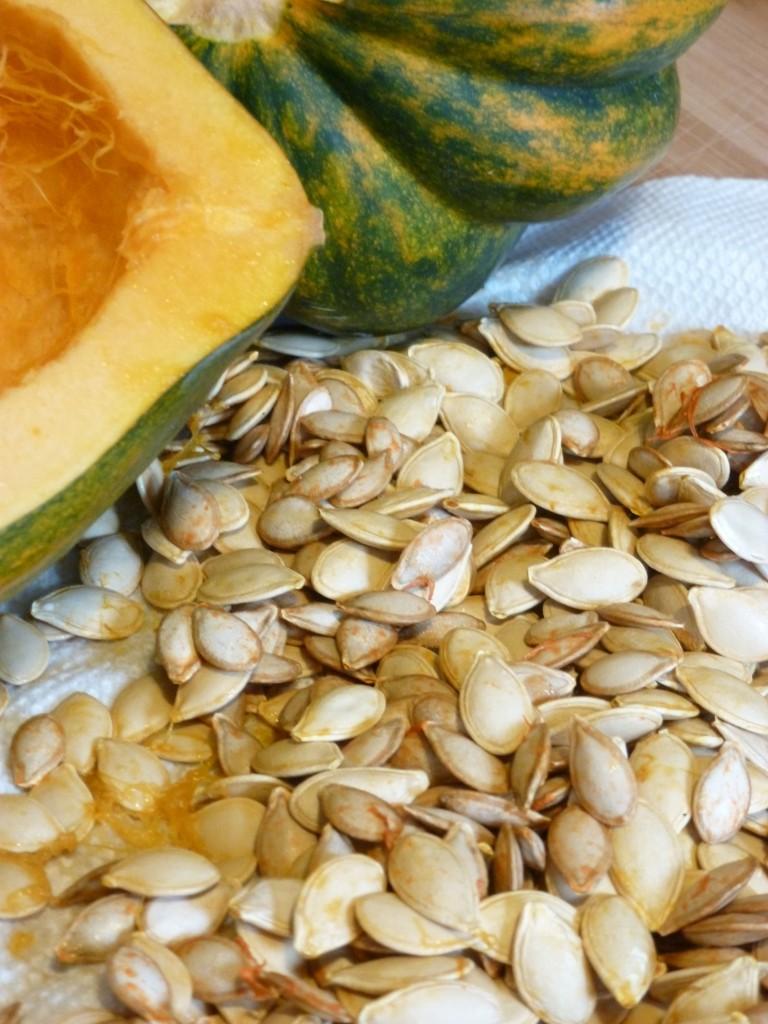 acorn squash and squash seeds