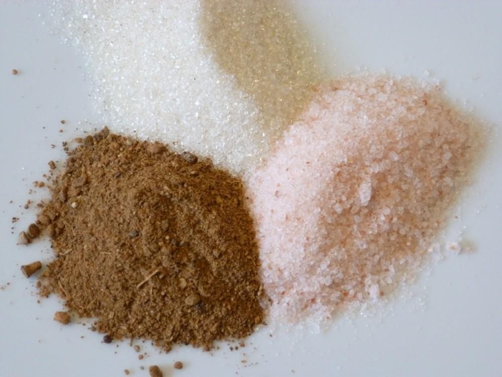 pink himalayan salt, chai spices, sugar