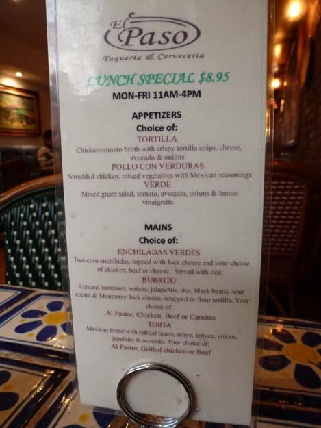 El Paso Lunch Special Menu