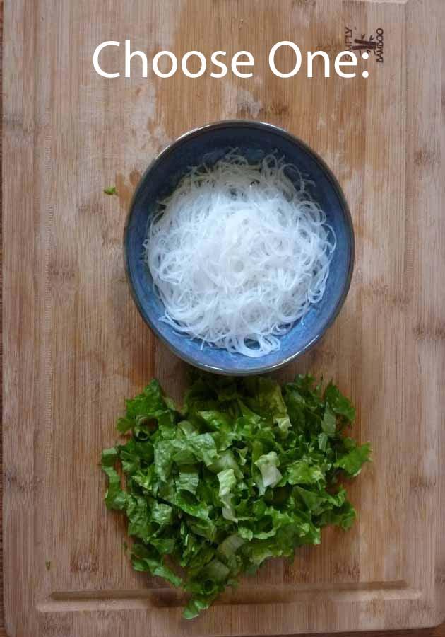 mung bean threads, shredded lettuce