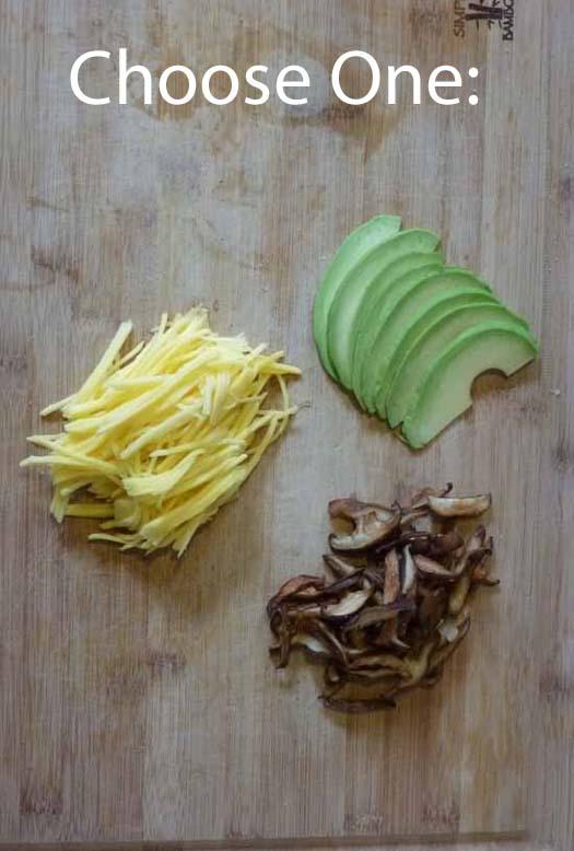mango, avocado, mushrooms