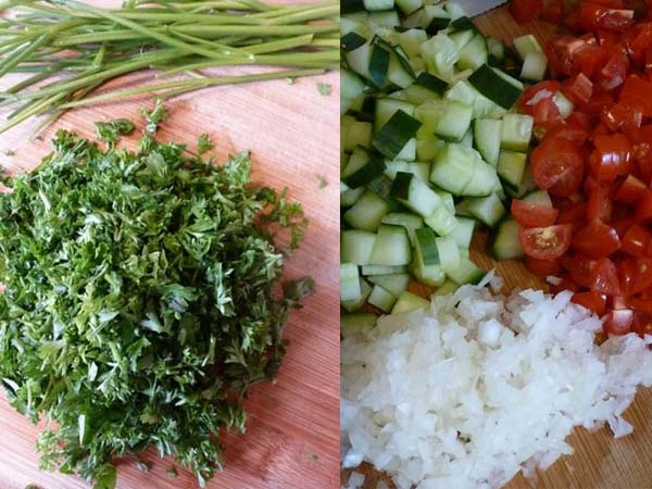 Chopped vegetables for Tabouli