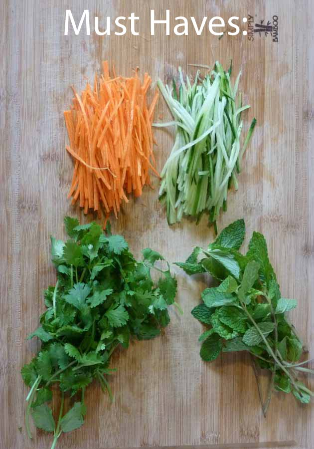 cucumber, carrot, cilantro, mint