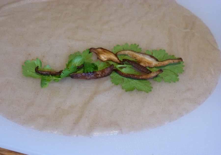 cilantro and shitakes in rice paper