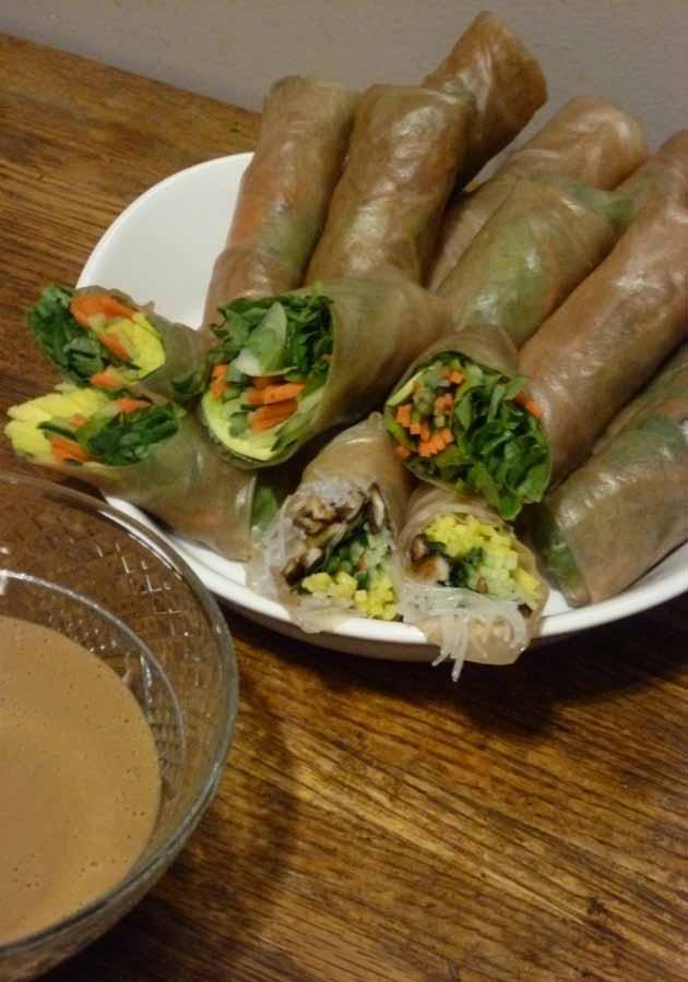 Mix n Match Vegan spring rolls with peanut dipping sauce