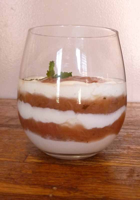 Rhubarb, mint, and vanilla bean compote parfait
