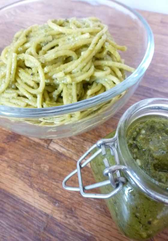 Half roasted ramp pesto with spaghetti