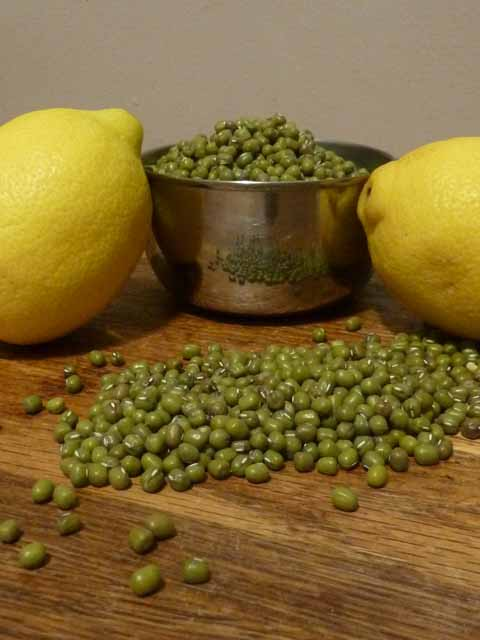 dried mung beans and lemons