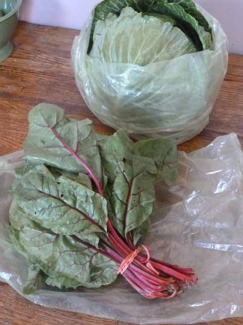 Swiss Chard & Cabbage in Green Bags