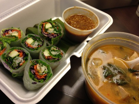 garden roll and tum yum soup from Thaiphoon in Dupont Circle