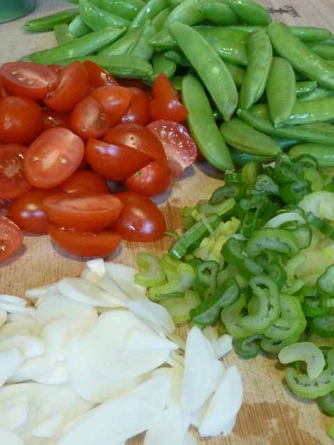 chopped Spaghetti Sugar Snap Peas Ingredients
