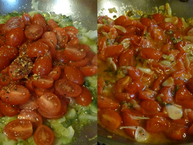uncooked and cooked tomatoes