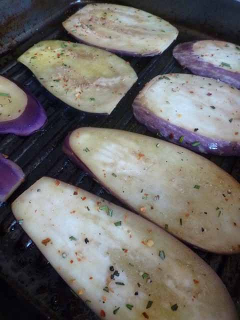 Eggplant in grill pan