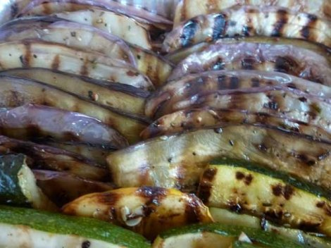 grilled summer squash and eggplant