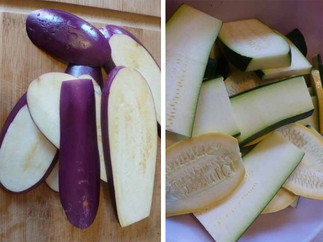 sliced eggplant & zucchini