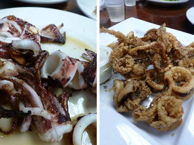 grilled and fried squid at astoria seafood