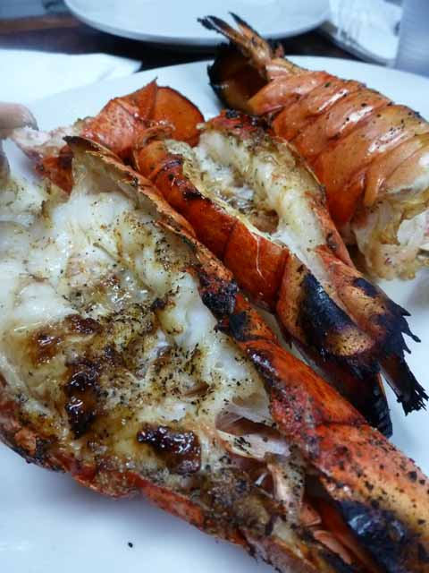 grilled lobster tails at Astoria Seafood
