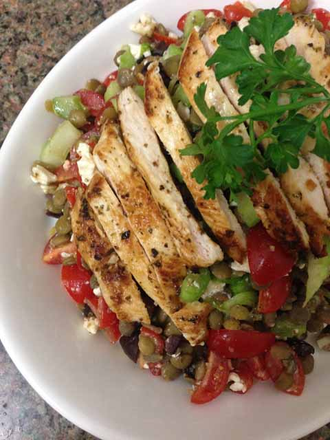 oregano chicken and lentil greek salad 1