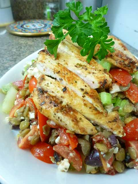 oregano chicken with greek lentil salad