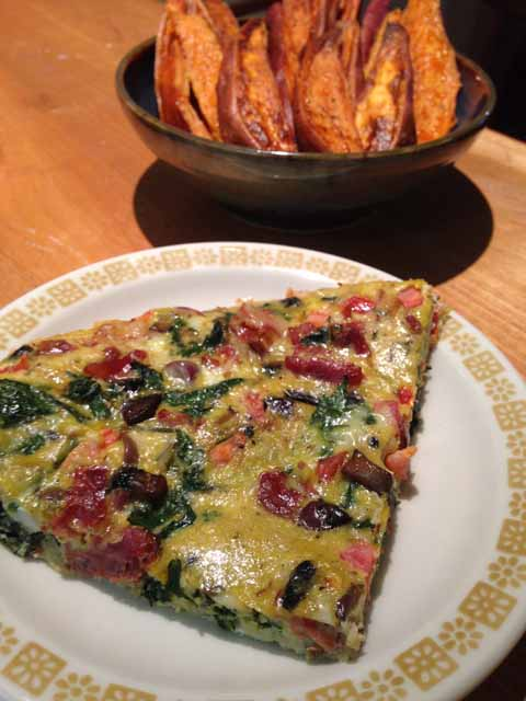 breakfast Frittata & Sweet Potato Wedges